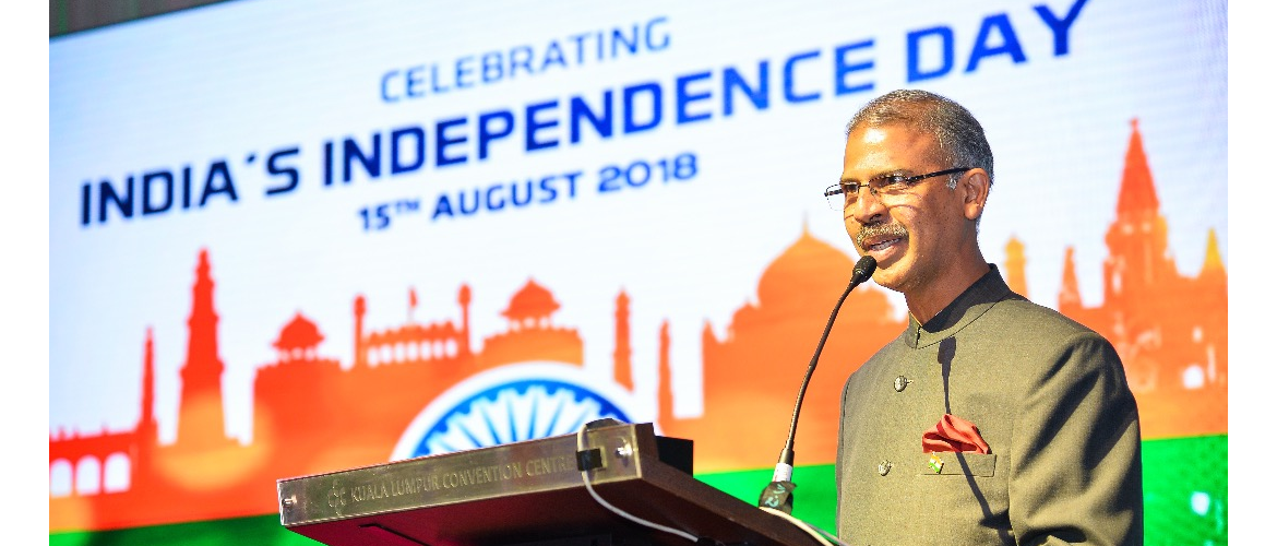 High Commissioner Mr. Mridul Kumar addressing guests at the  Independence Day Recption 2018