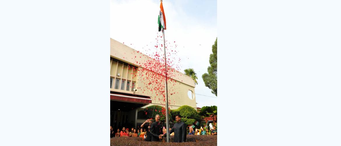 High Commissioner Mr Mridul Kumar hoisting Indian Flag at the India  House on 72nd Independence Day 2018