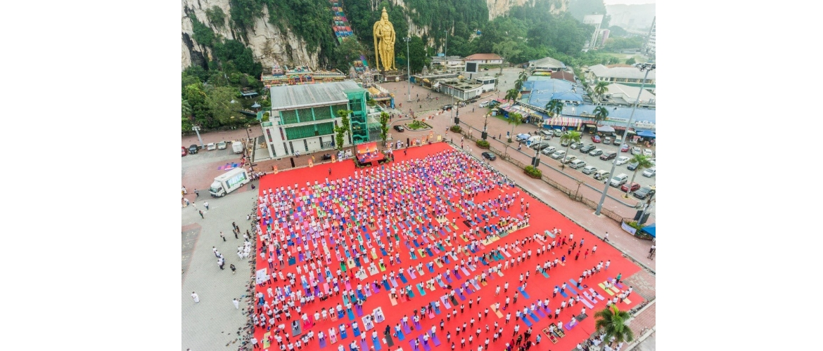 Aerial view of International Yoga Day celebrations in Kuala Lumpur on 23 June 2019.